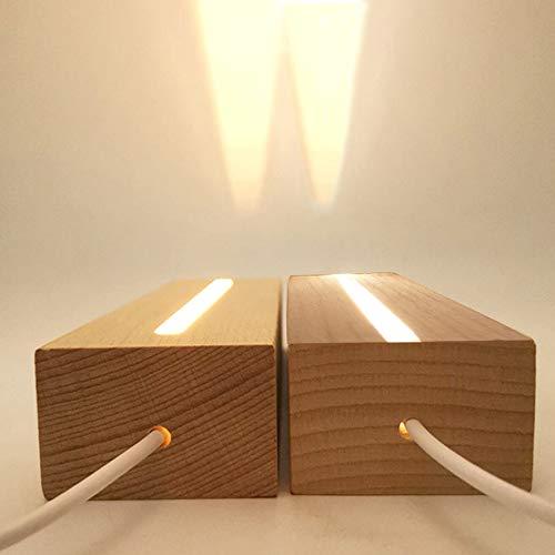 CDIYTOOL - Base de pantalla de luces LED de 2 piezas, soporte de base iluminado rectangular de madera de color cálido para placa acrílica, placa de vidrio
