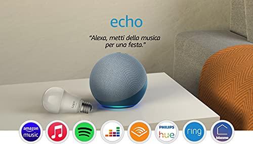 Echo (4ª generazione) - Audio di alta qualità - Ceruleo + TP-Link Tapo Lampadina Connessa (E27), compatibile con Alexa