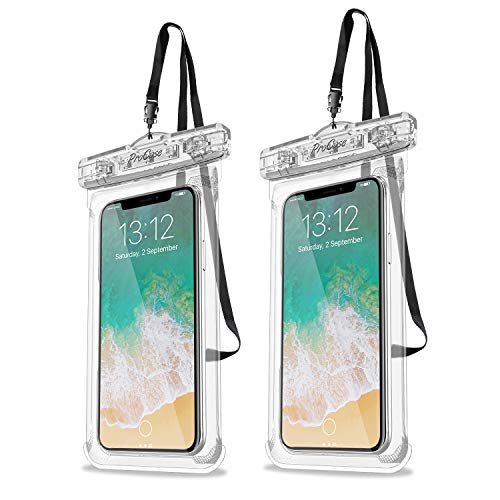 Procase Universal Waterproof Case Cellphone Dry Bag Pouch for iPhone 11 Pro Max Xs Max XR XS X 8 7 6S Plus, Galaxy S10 Plus S10 S10e S9+/Note 10 10+ 5G 9 8, Pixel 4 XL up to 6.8' - 2 Pack, Clear