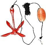 wsbdking Kit de Anclaje Plegable de 1.5 kg - Clip de Bolsas de 30 pies de Cuerda y boya de Marcador - para Bote Inflable Jet Skis Bote pequeño Kayak Canoa Sucio