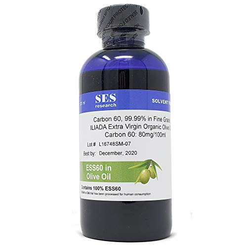 C60 in Olive Oil, Carbon 60 from The Original Manufacturer. We use only The Highest Purity ESS60 which is C60 Processed for Safer Human Consumption. Buckyballs in Olive Oil. Consume Safely with SES