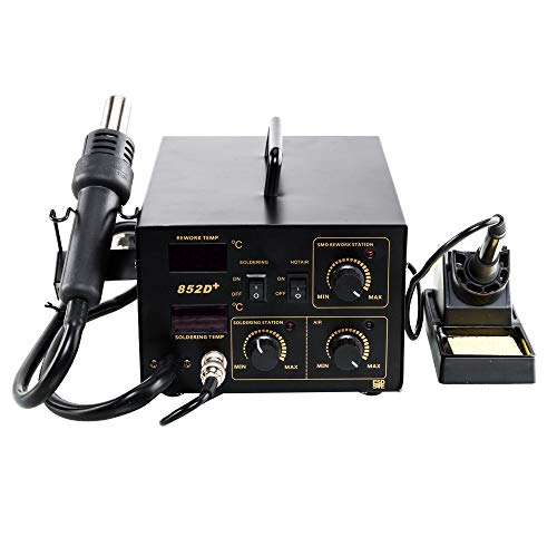 2 in 1 Soldering Station,Hot Air Rework Station and Soldering Iron kit Digital Display temperature Station with 5pcs Solder Tips and 1pc IC Extractor