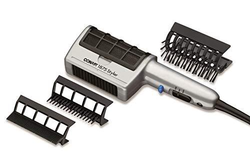 Conair 1875 Watt 3-in-1 Styling Hair Dryer; 3 Attachments to Detangle / Straighten / Volumize , Black/Silver