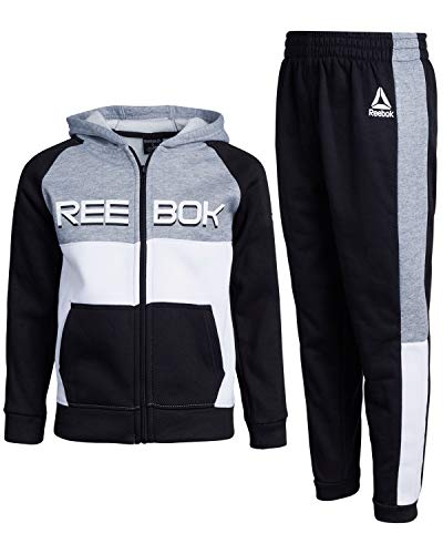 Reebok Boys' 2-Piece Athletic Fleece Tracksuit Set with Zip Up Jacket and Jog Pants, Black/Grey, Size 8'