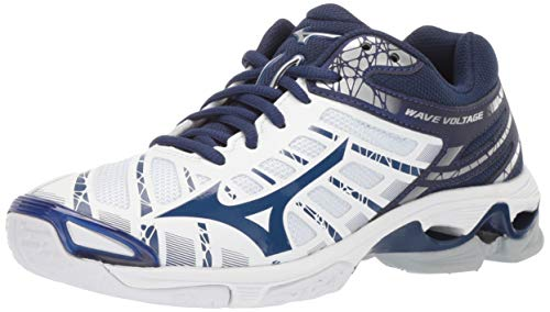 Mizuno Women's Wave Voltage Volleyball Shoe, white-navy, 8 B US
