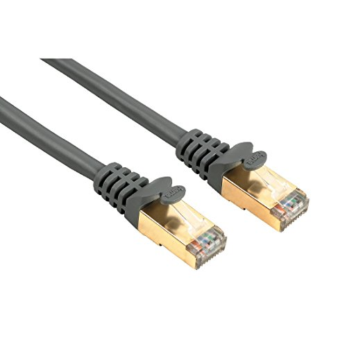 Hama Ethernet Cat 5e Netzwerkkabel STP (1,5m Patchkabel, 1000Mbit/s, vergoldet, geschirmt) grau