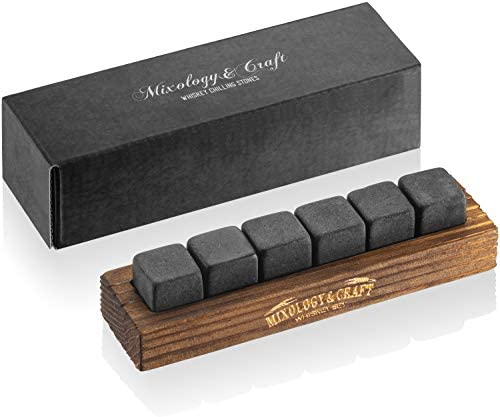 Whiskey Stones Gift Set for Men 6 Granite Whiskey Rocks Chilling Stones in a Classy Wood Tray product image