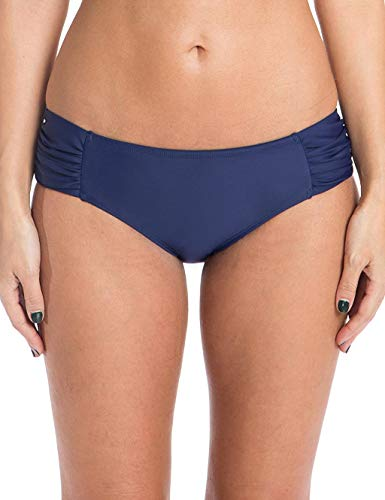 Ocean Blues Women's Full Coverage Swimsuit Ruched Sides Bikini Bottom Navy Blue X-Large