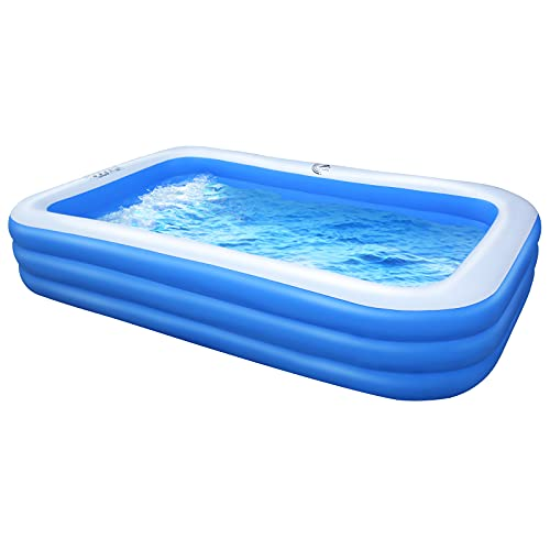 Inflatable Swimming Pool for Kids and Adults,Full-Sized Above Ground Rectangular Family Pools in 118''x72''x22'' for Kiddies,Toddlers Backyard Outdoor Summer Party