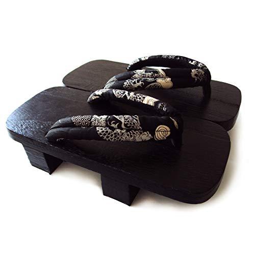YANMUZI Geta Sandalen Herren Holz Geta Sandalen Clogs Flip Flop Zweizähne Japanische Traditionelle High Heel Hausschuhe,E-34-36