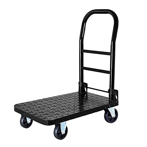 Carrello a pianale Carrello del carrello del carrello della piattaforma di acciaio del carrello della piattaforma di acciaio con manico pieghevole e ruote silenziose per flowerpots bagagli Toolbox Too