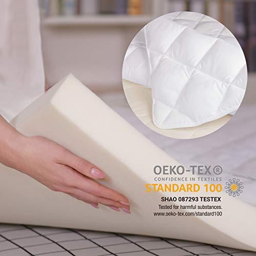 Smile Back Memory Foam Matratzen Topper 160x200 cm Set, 6CM viscoelastische Memroyschaumkern + Microfaser Matratzenauflage [160 x 200 x 6cm]