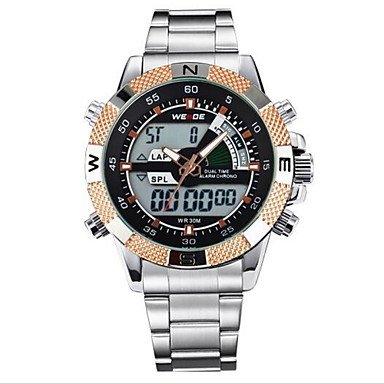 XKC-watches Herrenuhren, Weide® Quarz Männer voller Stahl Sport Luxusuhrenmarke analoge LCD-Digitalanzeige (Farbe : Rotgold, Großauswahl : Einheitsgröße)