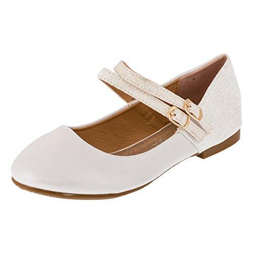 Festliche Mädchen Glitzer Ballerinas Schuhe mit Echt Leder Innensohle M408ws Weiß 34