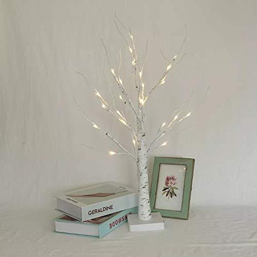 XVZ Árbol de abedul, blanco cálido, 24 luces LED de mesa de abedul iluminado funciona con pilas, Navidad, bodas, fiestas, hogar, festivales, fiestas y decoración de Navidad.