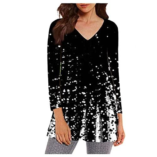 Damskie bluzy z długim rękawem, na co dzień lampart z okrągłym dekoltem sweter tunika bluza topy oversize koszule, biały, L