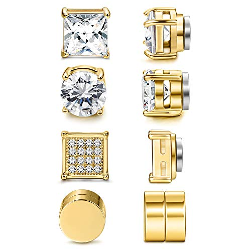 Jstyle 4 Pairs Stainless Steel Magnetic Stud Earrings for Men Women Gold CZ Non-Piercing Clip On Stud Earrings Set 6-8MM