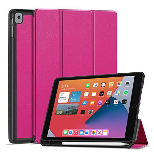 TNP Funda Compatible con iPad Air 8th 2020 / 7th 2019 10,2 Pulgadas, Carcasa Protectora Delgada Antigolpes de TPU con Función de Soporte para Lápiz y Auto-Sueño para Tabletas (Rosa Cálido)
