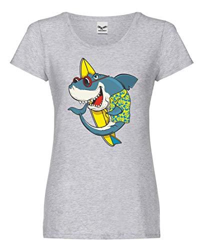 Camiseta – Tabla de surf tiburón gafas de sol hawaiana – Camiseta para mujer y mujer gris S