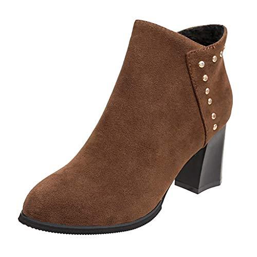 Preisvergleich Produktbild Yesmile Stiefeletten Leder Winterschuhe Outdoor Stiefel Winter Boots Damen Stiefel Wasserdicht Kurz Stiefeletten Schuhe