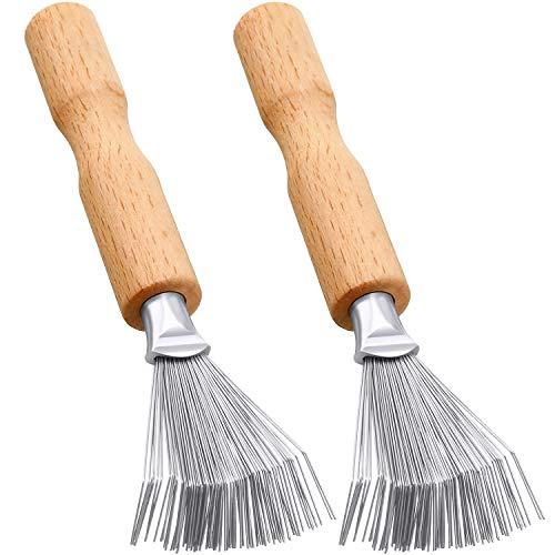 2 Packungen Haarbürsten Reiniger Werkzeug Kamm Reiniger Haarbürsten Reiniger Kamm Mini Haarbürste zur Schmutzentfernung mit Metalldraht Rechen Holzgriff für Heim und Salongebrauch