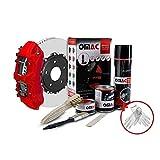 OMAC Bremssattellack Bremssattelfarbe Auto Lack Set   Bremsenreiniger und das Härtemittel Hitzebeständig Komplettsatz für 4 Bremssättel   Texas Rot (Matt) 7-teiliges
