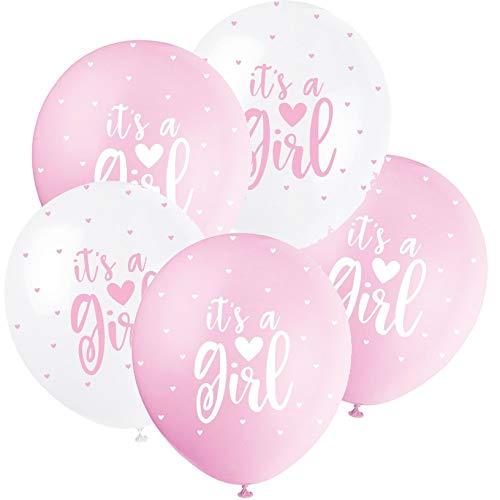 5 Ballons * It's A Girl * zur Deko für die Geburt eines Mädchens | in weiß und blau | Luftballons Baby Pinkelparty Kinder Geburtstag Partydeko
