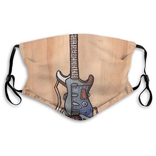 DongZhiYuanV Bequeme Steampunk-Gitarre, Bedruckte Gesichtsdekorationen für Erwachsene Männer, Frauen, Senioren und Jugendliche im Freien, staubdicht, Winddicht