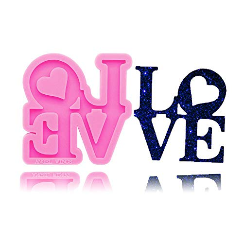 LLLKKK DY0284 Shiny Love letter form Silicone Molds DIY epoxy resin molds Keychain silicone mold craft for Key ring decoration (Color : DY0284 Pink)