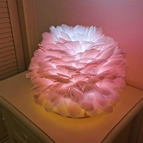 NACP Federtischlicht, Romantischer Lampenschirm Warmweiß Federn Tischlampe Nachtlampe Für Schlafzimmer Wohnzimmer,Rosa