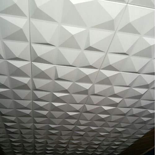 Polystyrene Decorative Foam 3D Wall/Ceiling Tiles Panels'Pyramid' White (2 sq/m (8 Tiles))