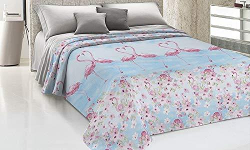 HomeLife Copriletto Singolo Primaverile Estivo in Piquet [170x280], Made in Italy | Coperta Letto Singola Cotone Jacquard Fenicotteri Rosa e Sfondo Azzurro | Trapuntina Singola Leggera | 1 P, Azzurro