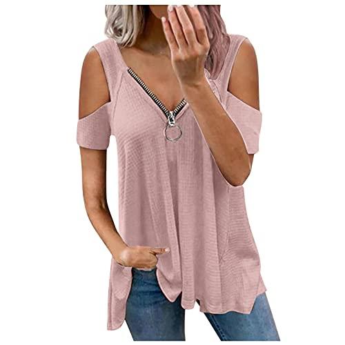 wyzesi Femme Blouse Epaules Dénudées avec Dentelle Chemisier à Manches Evasées en Top Haut Shirt Dété Elégant Casual Grande Taille Rose L