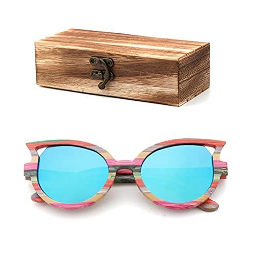 Gafas de sol polarizadas para hombres y mujeres color bambú gafas de sol viaje con caja de gafas de madera
