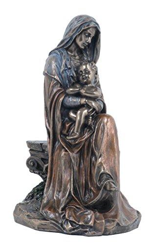 6,75pulgadas Madre Mary holding baby Jesus de Bronce Fundido en Frío Figura