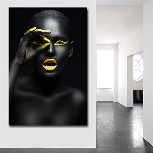 Leinwanddrucke Malen Moderne Schwarze Frau Modell Wandkunst Poster und druckt Bilder Home Decoration für Wohnzimmer-Rahmenlos-60X90cm
