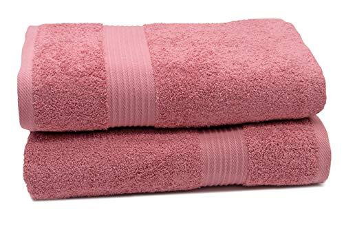 ZOLLNER 2 Toallas de baño Grandes 100x150 cm 100% algodón, Rosa