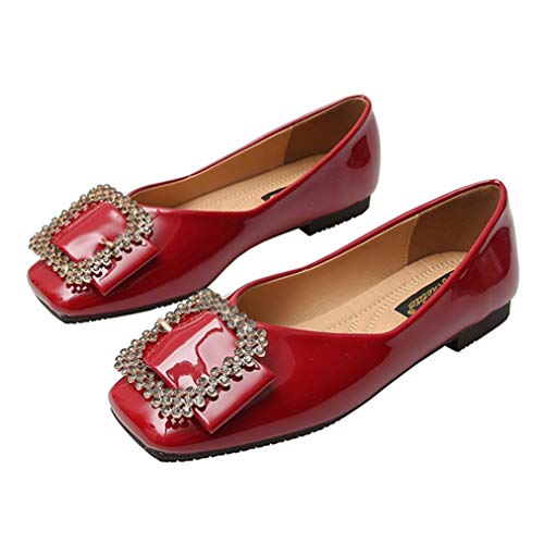 CYBLING Women's Foldable Slip On Ballet Flats Rhinestone Buckle Square Toe Loafers Walking Driving Shoes Red