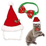 Kungfu Mall Gorro de Papá Noel ajustable para perros y gatos