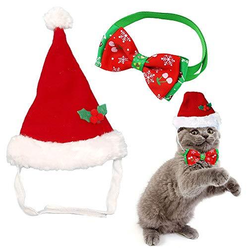 kungfu Mall - Gorro de Papá Noel de Felpa y Lazo de Navidad Ajustable para Perros, Gatos, Navidad, Suministros para Mascotas