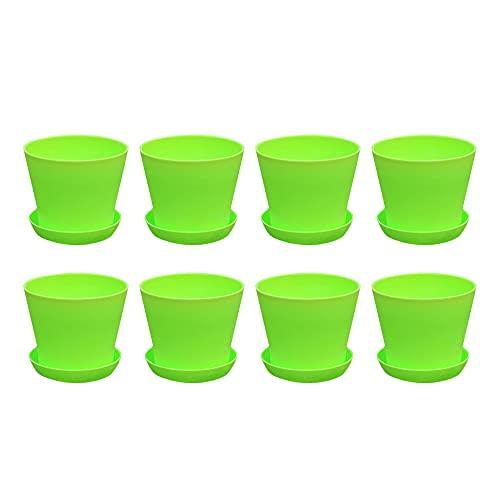 YeenGreen Macetas Exterior Pequeñas, 8 Piezas Macetas Plastico Pequeñas, Macetas De Plástico para...