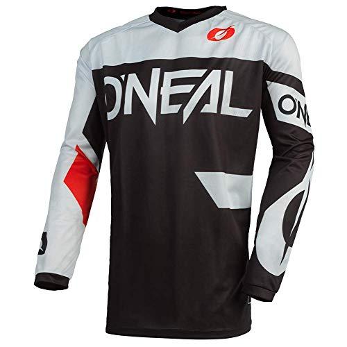 O'NEAL | Motocross-Trikot | Enduro MX | Atmungsaktives Material, Gepolsterter Ellbogenschutz, Passform für maximale Bewegungsfreiheit | Element Jersey Racewear | Erwachsene | Schwarz Weiß | Größe S