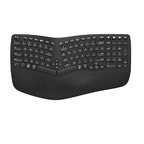 Ergonómico con Dual Bluetooth de dos modos de retroiluminación Split teclado (teclado inalámbrico+ratón (retroiluminación blanca)negro)