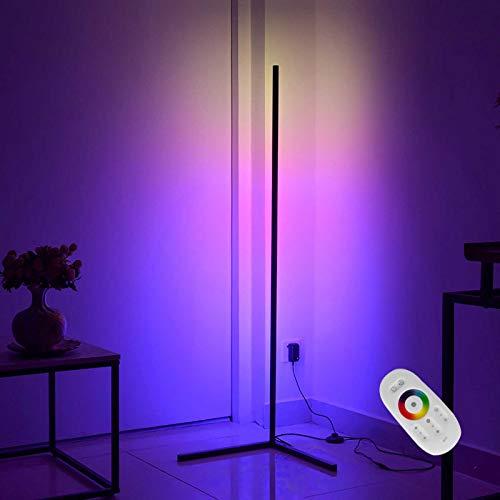 RGB Esquina Lámpara De Piso 20W LED Lámpara De Pie De Color Variable, Creative Metal Lámpara De Humor, Sala Dormitorio Hotel Restaurante Luces Decorativas Luz De La Atmósfera, 140Cm,Remote control