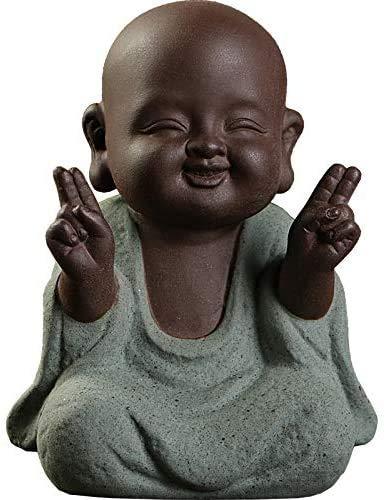 Keramik Tiny Cute Buddha Statue Mönch Figur Kreative Baby Buddha Basteln Puppen Ornamente Geschenk Klassisch Fein Keramik Kunsthandwerk Tee Zubehör Klein (7 x 10 cm)
