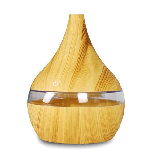 BANESE 300Ml Electric Aroma Diffuser Elektrisch - Holzmaserung Ultraschall-Luftbefeuchter Ätherische Öle Für Diffuser Für Zuhause,Lightwoodgrain,Flat