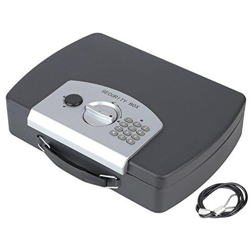 HMF 1608-02 Caja fuerte para documentos, Caja de caudales, cerradura electrónica con cable metálico, 33 x 29,5 x 7,5 cm
