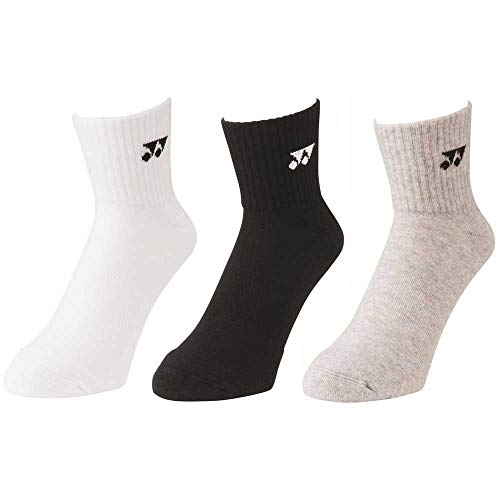 Yonex Socken (lang) 19141, 3er Pack - weiß/grau/schwarz, 40-44