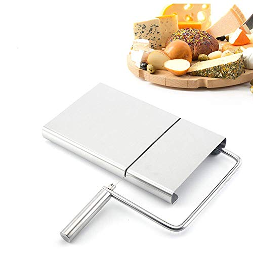 Cheese Slicer RVS Draad Boter Snijder Keuken Kaas Boter Voedsel Slicer met 5 Vervangingsdraden binnen, RVS Kaas Slicer met Duurzame Snijplank