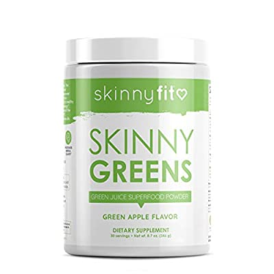 SkinnyFit Skinny Greens, Green Juice Superfood Powder, Green Apple Flavor, Support Weight Loss, Natural Energy & Focus, Reduce Bloating, Helps Reduce Inflammation, Spirulina, Chlorella, 30 Servings